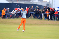 Rickie Fowler (USA) on the 18th during final round of The Open Championship 146th Royal Birkdale, Southport, England. 23/07/2017.<br /> Picture Fran Caffrey / Golffile.ie<br /> <br /> All photo usage must carry mandatory copyright credit (&copy; Golffile | Fran Caffrey)