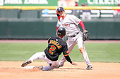 April 30th 2008: Gil Velazquez (2) of the Pawtucket Red Sox, Class-AAA affiliate of the Boston Red Sox, attempts a double play as Alexi Casilla (2) slides in during a game at Frontier Field  in Rochester, NY.  Photo by Mike Janes/Four Seam Images
