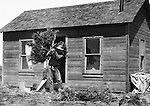 Jerome ID:  Brady Stewart cleaning up the front yard on the 160 acre estate - 1909.  Brady Stewart and three friends went to Idaho on a lark from 1909 thru early 1912. As part of the Mondell Homestead Act, they received a land grant of 160 acres north of the Snake River.  As part of the land grant, there was an old farmhouse that was in dire need of repair.  For 2 ½  years, Brady Stewart photographed the adventures of farming along with the spectacular landscapes.