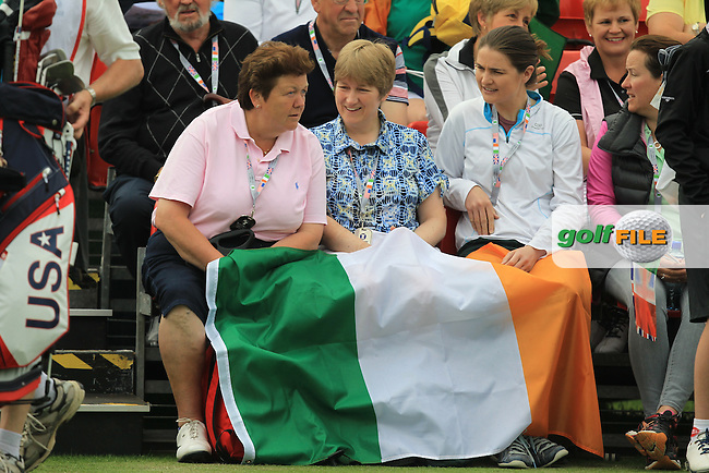Supporters at the 1st tee during the Friday morning Foursomes of the 2016 Curtis Cup at Dun Laoghaire Golf Club on Friday 10th June 2016.<br /> Picture:  Golffile | Thos Caffrey