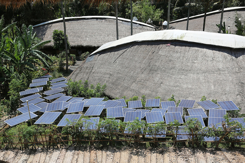 The Heart of School surrounded by solar panels<br />
