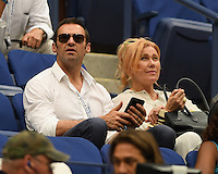 FLUSHING NY- SEPTEMBER 09: Hugh Jackman and Deborra-Lee Furness seen watching Novak Djokovic Vs Gael Monfils during the mens semi finals on Arthur Ashe Stadium at the USTA Billie Jean King National Tennis Center on September 9, 2016 in Flushing Queens. Credit: mpi04/MediaPunch