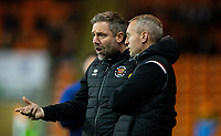 Blackpool manager Neil Critchley talks to assistant manager David Dunn<br /> <br /> Photographer Alex Dodd/CameraSport<br /> <br /> The EFL Sky Bet League One - Blackpool v Tranmere Rovers - Tuesday 10th March 2020 - Bloomfield Road - Blackpool<br /> <br /> World Copyright © 2020 CameraSport. All rights reserved. 43 Linden Ave. Countesthorpe. Leicester. England. LE8 5PG - Tel: +44 (0) 116 277 4147 - admin@camerasport.com - www.camerasport.com