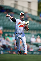 Baltimore Orioles relief pitcher Matt Wotherspoon (98) throws to first base during a Grapefruit League Spring Training game against the Tampa Bay Rays on March 1, 2019 at Ed Smith Stadium in Sarasota, Florida.  Rays defeated the Orioles 10-5.  (Mike Janes/Four Seam Images)