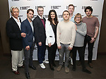 """The Skintight team:  Jack Wetherall, Will Brittain, director Daniel Aukin, Idina Menzel, playwright Joshua Harmon, Stephen Carrasco, Cynthia Mace, and Eli Gelb attends the Cast Photo Call for The Roundabout Theatre Company production of """"Skintight"""" at the American Airlines Theatre on May 16, 2018 in New York City."""