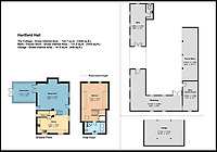 BNPS.co.uk (01202 558833)<br /> Pic:  KnightFrank/BNPS<br /> <br /> Floor plan for the cottage, barn and tractor store area and garage.<br /> <br /> A luxury property in the real-life setting for the Winnie the Pooh books that even has a stream running through it connecting to 'Pooh Bridge' is up for sale.<br /> <br /> Hatfield Hall is in the same village author AA Milne lived when he was inspired to write his famous children's stories in the 1920s.<br /> <br /> Hatfield is within Ashdown Forest which Milne called Five Hundred Acre Wood and is where Christopher Robin, Pooh, Piglet and Eeyore had their adventures.<br /> <br /> Their most famous escapade was inventing the game of Pooh-sticks at a wooden bridge in the forest.