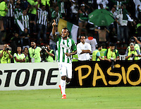 BOGOTA - COLOMBIA: 27-07-2016: Miguel Borja, jugador de Atletico Nacional de Colombia, celebra el gol anotado a Independiente Del Valle de Ecuador, durante partido de vuelta de la final, entre Atletico Nacional e Independiente Del Valle por la Copa Bridgestone Libertadores 2016 en el Estadio Atanasio Girardot, de la ciudad de Medellin. / Miguel Borja, player of Atletico Nacional of Colombia, celebrates the goal scored against Independiente Del Valle of Ecuador, during a match for the second leg for the final between Atletico Nacional and Independiente Del Valle for the Bridgestone Libertadores Cup 2016, in the Atanasio Girardot Stadium, in Medellin city. Photos: VizzorImage / Luis Ramirez / Staff.