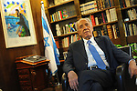 Israel's President Shimon Peres at his office in the presidential residence in Jerusalem, Israel, May 23, 2010.<br /> CREDIT: Ahikam Seri for The Wall Street Journal<br /> SLUG: INTVIEW simon peres