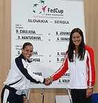 Tenis, Fed Cup 2011, play-off for group A.Slovakia Vs. Serbia, Official Draw.Dominika Cibulkova, left and Ana Ivanovic.Bratislava, 15.04.2011..foto: Srdjan Stevanovic/Starsportphoto ©