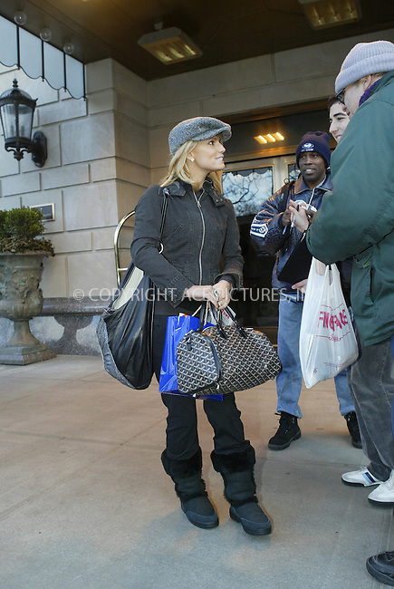WWW.ACEPIXS.COM . . . . .  ....NEW YORK, FEBRUARY 10, 2005....Jessica Simpson is seen clearing out of the Ritz-Carlton with a tremendous amount of luggage, but no Nick in tow. She did take a moment to sign a few autographs.....Please byline: Ian Wingfield - ACE PICTURES..... *** ***..Ace Pictures, Inc:  ..Philip Vaughan (646) 769-0430..e-mail: info@acepixs.com..web: http://www.acepixs.com