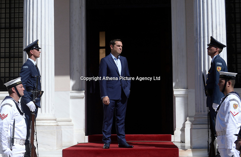 Pictured: Greek Prime Minister Alexis Tsiptas awaits the arrival of French President Emmanuel Macron meets at Megaro Maximou (Maximou Mansion) in Athens, Greece. Thurday 07 September 2017<br /> Re: French President Emmanuel Macron state visit to Athens, Greece.