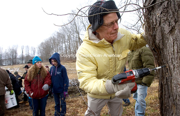 WOODBURY, CT. 11 February 2012-021112SV03-Ed Keplinger of Woodbury drills a hole in a maple tree to collect sap for maple syrup at Flanders Nature Center and Land Trust in Woodbury Saturday. The annual Tapping Day kicks off the 2012 maple season..Steven Valenti Republican-American