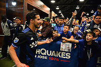 San Jose, CA - Saturday April 14, 2018: Jahmir Hyka, fans during a Major League Soccer (MLS) match between the San Jose Earthquakes and the Houston Dynamo at Avaya Stadium.
