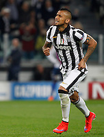 Calcio, quarti di finale di andata di Champions League: Juventus vs Monaco. Torino, Juventus stadium, 14 aprile 2015.<br /> Juventus' Arturo Vidal celebrates after scoring on a penalty kick on a penalty kick during the Champions League quarterfinals first leg football match between Juventus and Monaco at Juventus stadium, 14 April 2015.<br /> UPDATE IMAGES PRESS/Isabella Bonotto