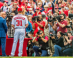 3 April 2017: Washington Nationals pitcher Max Scherzer is honored for winning his second Cy Young Award and photographed by the media prior to a game against the Miami Marlins on Opening Day at Nationals Park in Washington, DC. The Nationals defeated the Marlins 4-2 to open the 2017 MLB Season. Mandatory Credit: Ed Wolfstein Photo *** RAW (NEF) Image File Available ***