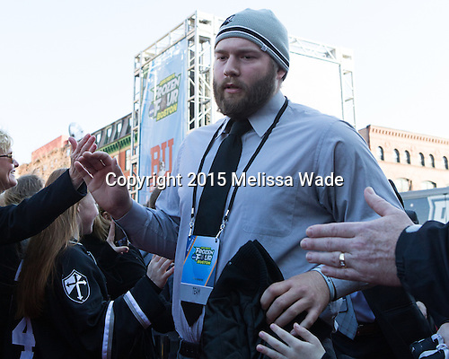 Drew Brown (PC - 7) - The teams walked the red carpet through the Fan Fest outside TD Garden prior to the Frozen Four final on Saturday, April 11, 2015, in Boston, Massachusetts.