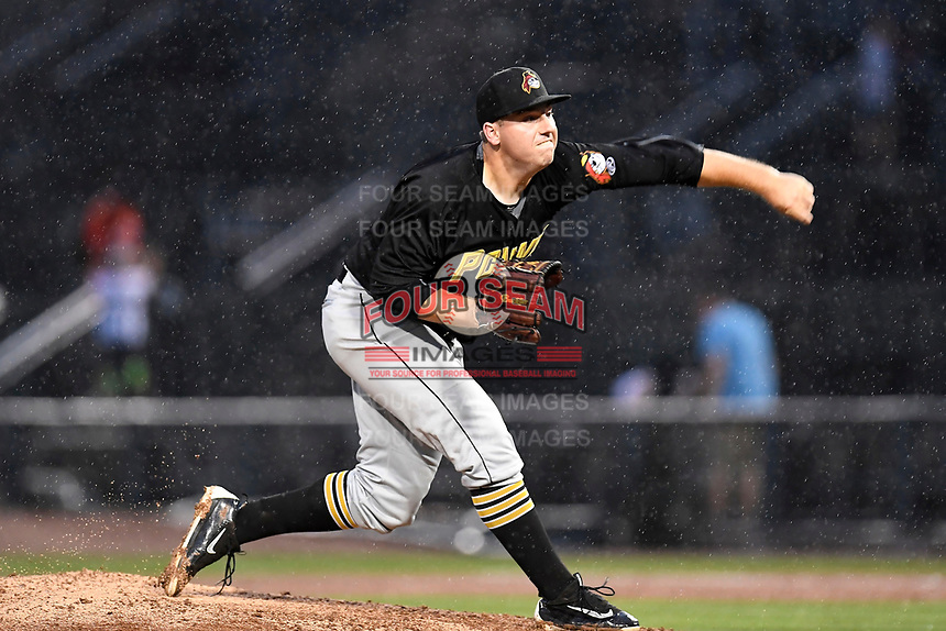 Jordan Jess (39) of the West Virginia Power with the North team pitches during the South Atlantic League All-Star Game on Tuesday, June 20, 2017, at Spirit Communications Park in Columbia, South Carolina. The game was suspended due to rain after seven innings tied, 3-3. (Tom Priddy/Four Seam Images)