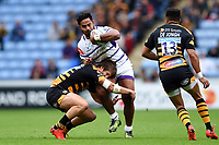 Manu Tuilagi of Leicester Tigers is tackled by Michael Le Bourgeois of Wasps. Gallagher Premiership match, between Wasps and Leicester Tigers on September 16, 2018 at the Ricoh Arena in Coventry, England. Photo by: Patrick Khachfe / JMP