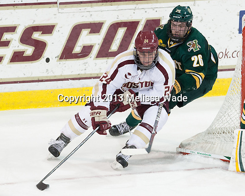 Bill Arnold (BC - 24), Caylen Walls (UVM - 26) - The Boston College Eagles defeated the University of Vermont Catamounts 4-1 on Friday, February 1, 2013, at Kelley Rink in Conte Forum in Chestnut Hill, Massachusetts.