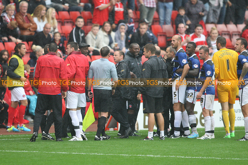 Paul Dickov manager of Doncaster Rovers argues with the match officials as the match is suspended - Charlton Athletic vs Doncaster Rovers - Sky Bet Championship Football at The Valley, London - 24/08/13 - MANDATORY CREDIT: George Phillipou/TGSPHOTO - Self billing applies where appropriate - 0845 094 6026 - contact@tgsphoto.co.uk - NO UNPAID USE