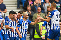 Aaron Connolly of Brighton and Hove Albion second left is congratulated after scoring the second goal during Brighton & Hove Albion vs Tottenham Hotspur, Premier League Football at the American Express Community Stadium on 5th October 2019