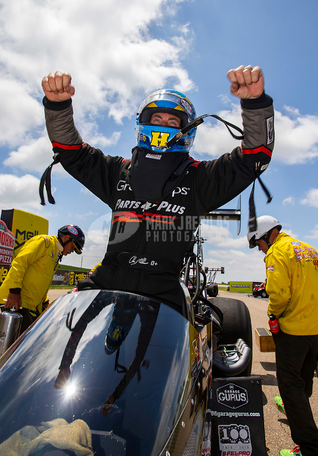 May 21, 2018; Topeka, KS, USA; NHRA top fuel driver Clay Millican celebrates after winning the Heartland Nationals at Heartland Motorsports Park. Mandatory Credit: Mark J. Rebilas-USA TODAY Sports
