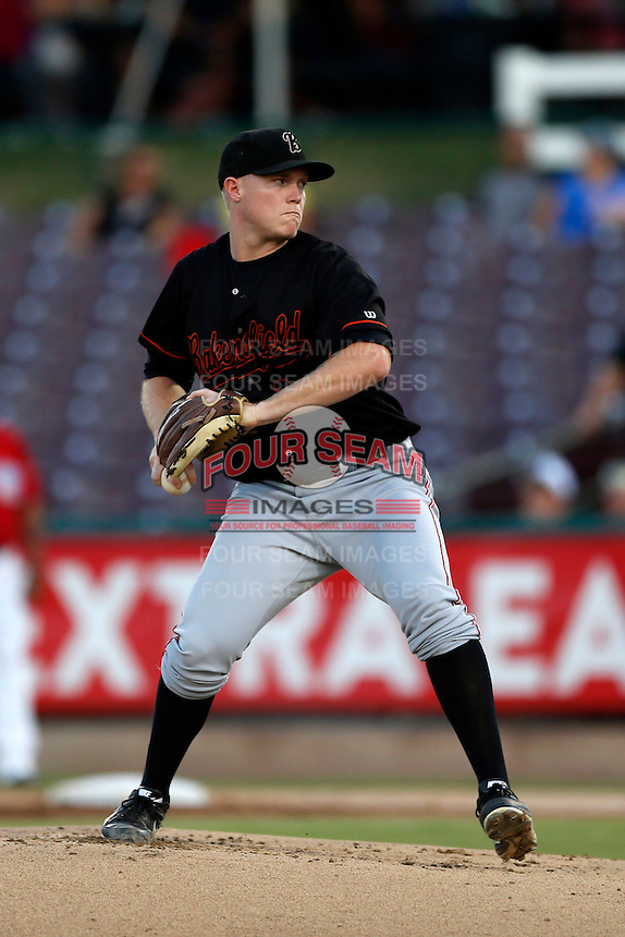Jacob Johnson #29 of the Bakersfield Blaze pitches against the Inland Empire 66ers at San Manuel Stadium on August 22, 2013 in San Bernardino, California. Bakersfield defeated Inland Empire, 2-1. (Larry Goren/Four Seam Images)