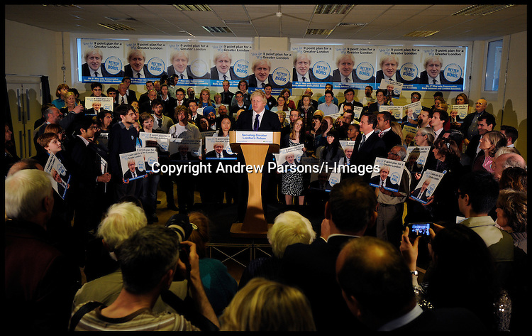 London Mayor Boris Johnson and The Prime Minister David Cameron  during rally in Orpington, London, during the Mayoral Campaign, Tuesday April 18, 2012. Photo By Andrew Parsons/I-images