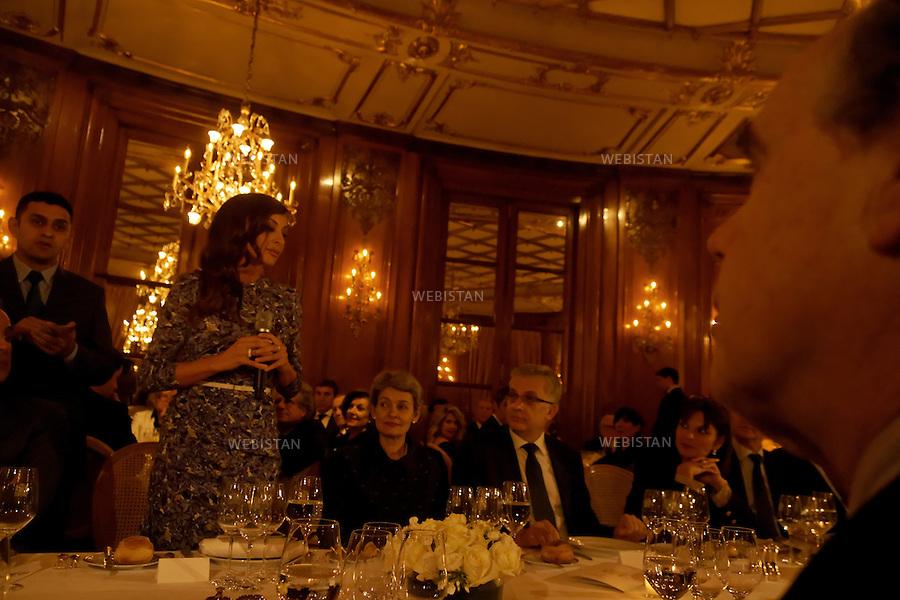 Paris.France.Hôtel Le Bristol.Dîner en l'honneur du vernissage de l'exposition d'Art Contemporain d'Azerbaïdjan. Mme Mehriban Aliyeva. Première Dame d'Azerbaïdjan....