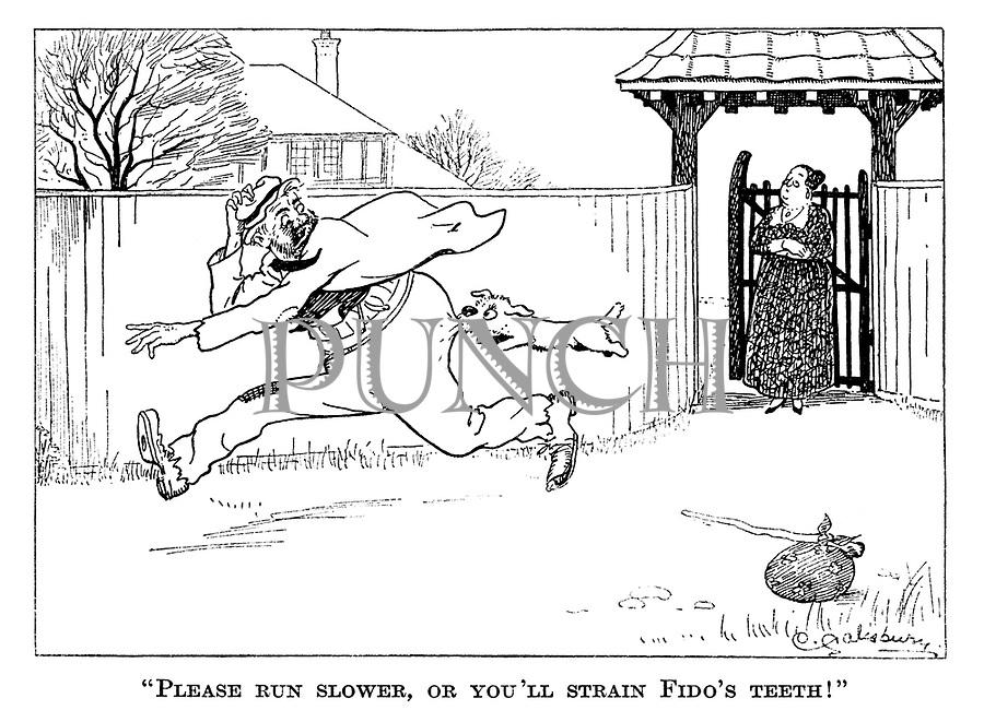 """Please run slower, or you'll strain Fido's teeth!"""