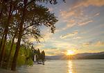 Idaho, North, Idaho Panhandle, Kootenai County, Hayden. Daybreak on Hayden Lake in summer.