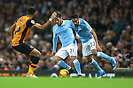 David Silva and Gael Clichy of Manchester City get in one another way on the ball - Manchester City vs Hull City - Capital One Cup - Etihad Stadium - Manchester - 01/12/2015 Pic Philip Oldham/SportImage