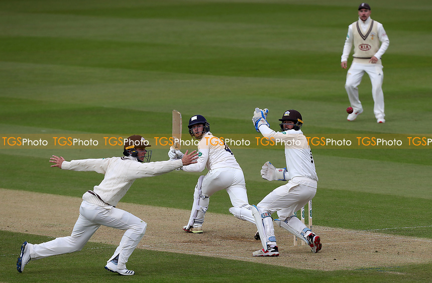 Robbie White of Essex watches the ball loop away from the fielders during Surrey CCC vs Essex CCC, Specsavers County Championship Division 1 Cricket at the Kia Oval on 13th April 2019