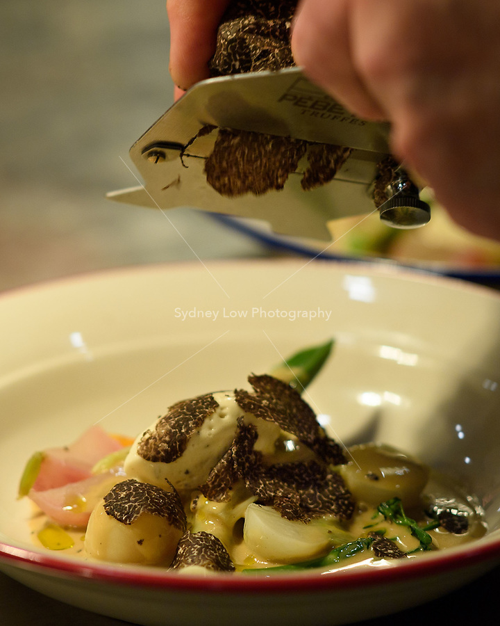 "Melbourne - June 15, 2018: The dish of ""winter vegetable composition and truffle cream vinaigrette"" at the annual Truffle Dinner at Philippe Restaurant in Melbourne, Australia. Photo Sydney Low"