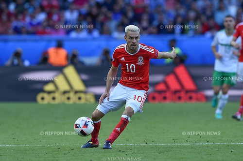 Aaron Ramsey (Wales) ; <br /> June 25, 2016- Football : Uefa Euro France 2016, Round of 16, Wales 1-0 Northern Ireland at Stade Parc des Princes, Paris, France. (Photo by aicfoto/AFLO)