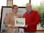John Rafferty Ardee Historical Society presents Mairead McGuinness MEP with a picture of Ardee at the launch of Ardee Heritage Week. Photo:Colin Bell/pressphotos.ie