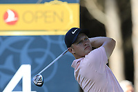Tom Lewis (ENG) tees off the 4th tee during Saturday's Round 3 of the 2018 Turkish Airlines Open hosted by Regnum Carya Golf &amp; Spa Resort, Antalya, Turkey. 3rd November 2018.<br /> Picture: Eoin Clarke | Golffile<br /> <br /> <br /> All photos usage must carry mandatory copyright credit (&copy; Golffile | Eoin Clarke)