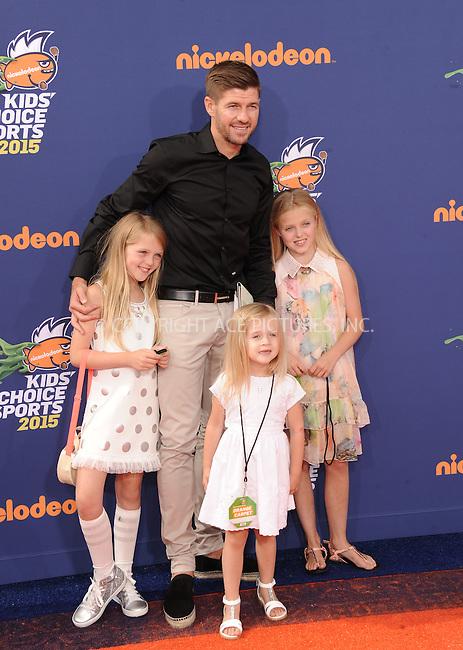 WWW.ACEPIXS.COM<br /> <br /> July 16 2015, LA<br /> <br /> Lilly-Ella Gerrard, Lexie Gerrard, Lourdes Gerrard, Steven Gerrard arriving at the Nickelodeon Kids' Choice Sports Awards 2015 at UCLA's Pauley Pavilion on July 16, 2015 in Westwood, California.<br /> <br /> By Line: Peter West/ACE Pictures<br /> <br /> <br /> ACE Pictures, Inc.<br /> tel: 646 769 0430<br /> Email: info@acepixs.com<br /> www.acepixs.com