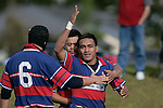 S. Petelo celebrats his try as team mates congratulate him. Counties Manukau Premier McNamara Cup Semi Final rugby game between Pukekohe & Ardmore Marist, played at  Colin Lawrie Fields Pukekohe on 28th July 2007. Pukekohe won 30 - 10.