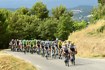 The peloton with Team Sky on the front in action during Stage 19 of the 104th edition of the Tour de France 2017, running 222.5km from Embrun to Salon-de-Provence, France. 21st July 2017.<br /> Picture: ASO/Alex Broadway | Cyclefile<br /> <br /> <br /> All photos usage must carry mandatory copyright credit (&copy; Cyclefile | ASO/Alex Broadway)