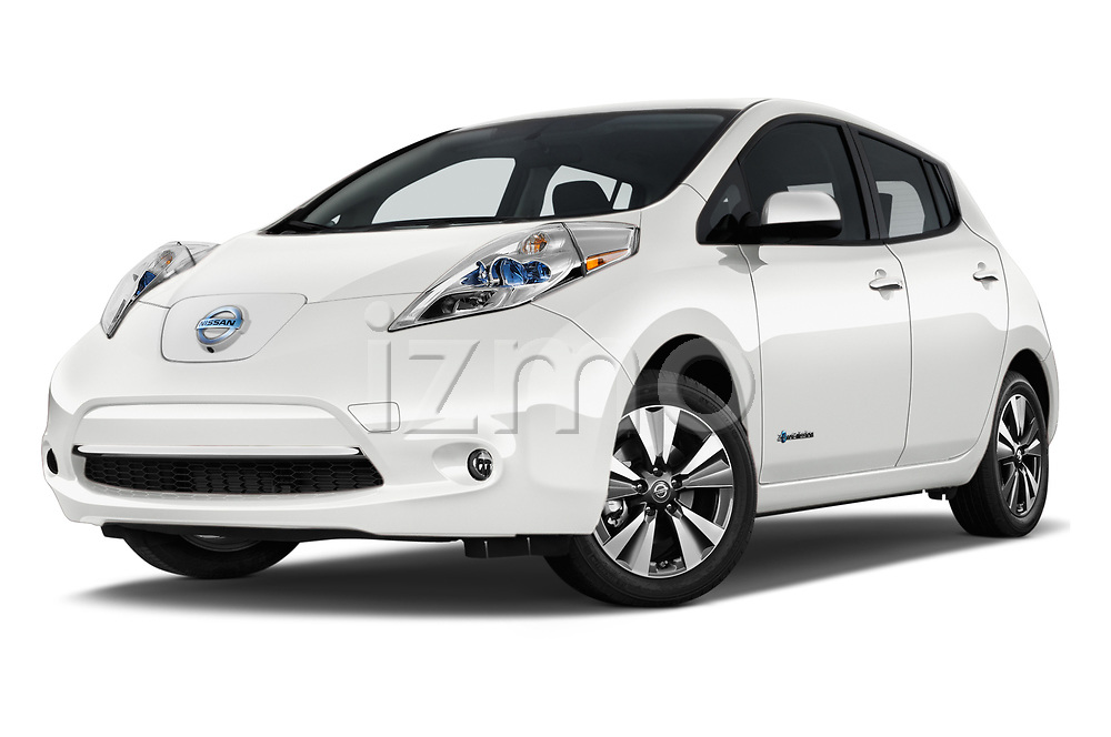 Stock pictures of low aggressive front three quarter view of 2017 Nissan Leaf SL 5 Door Hatchback