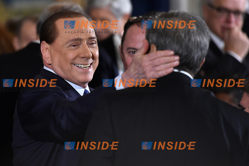 Silvio Berlusconi, Maurizio Gasparri <br /> Roma 03-02-2015 Quirinale <br /> Insediamento Presidente della Repubblica italiana. Newly elected President of italian Republic <br /> Foto Andrea Staccioli / Insidefoto