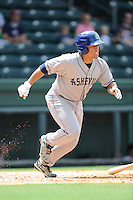 Designated hitter Wilfredo Rodriguez (3) of the Asheville Tourists in a game against the Greenville Drive on Sunday, July 20, 2014, at Fluor Field at the West End in Greenville, South Carolina. Asheville won game one of a doubleheader, 3-1. (Tom Priddy/Four Seam Images)