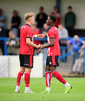 Lincoln City's Jordan Adebayo-Smith, right, celebrates scoring the opening goal with team-mate Lincoln City's trialist<br /> <br /> Photographer Chris Vaughan/CameraSport<br /> <br /> Football Pre-Season Friendly (Community Festival of Lincolnshire) - Lincoln City v Lincoln United - Saturday 6th July 2019 - The Martin & Co Arena - Gainsborough<br /> <br /> World Copyright © 2018 CameraSport. All rights reserved. 43 Linden Ave. Countesthorpe. Leicester. England. LE8 5PG - Tel: +44 (0) 116 277 4147 - admin@camerasport.com - www.camerasport.com