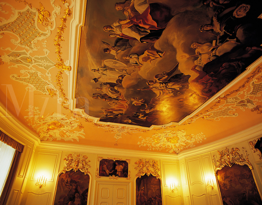 Ornate painted ceiling in the main chamber of the Rathaus (Council Chamber), Schwabisch Hall, Bavaria, southern German