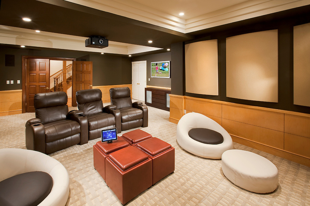 Striking Basement Theater With iPad Theater Control