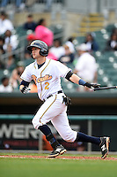 Montgomery Biscuits shortstop Jake Hager (2) at bat during a game against the Mississippi Braves on April 22, 2014 at Riverwalk Stadium in Montgomery, Alabama.  Mississippi defeated Montgomery 6-2.  (Mike Janes/Four Seam Images)