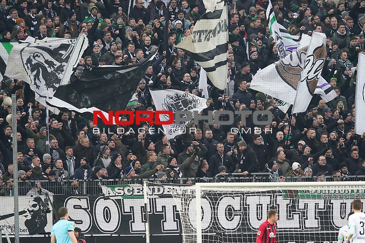 01.12.2019, Borussia Park , Moenchengladbach, GER, 1. FBL,  Borussia Moenchengladbach vs. SC Freiburg,<br />  <br /> DFL regulations prohibit any use of photographs as image sequences and/or quasi-video<br /> <br /> im Bild / picture shows: <br /> fans gladbach<br /> <br /> Foto © nordphoto / Meuter