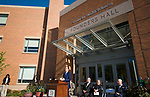 WATERBURY, CT-101317JS12-- Gov. Dannel P. Malloy offers his remarks during the dedication of the Naugatuck Valley Community College's new Center for Hearth Sciences at Founders Hall and the Joseph V. Faryniarz Quadrangle Friday, at the Waterbury campus. <br /> Jim Shannon Republican-American