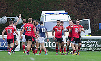 Ross Adair (right) of Jersey scores the first try of the game during the Greene King IPA Championship match between London Scottish Football Club and Jersey at Richmond Athletic Ground, Richmond, United Kingdom on 7 November 2015. Photo by Andy Rowland.